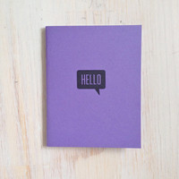 Medium Notebook: Hello, Purple, Cute, Party Favor, Blank Journal, Wedding, Favor, Journal, Blank, Unlined, Unique, Gift, Notebook, DDD240