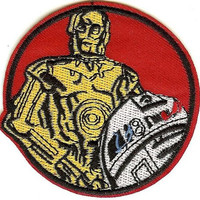 Star Wars Iron-On Patch Round Robots C3PO R2D2