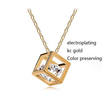 stereo love Hearts and Arrows zircon crystal necklace short paragraph jewelry exports
