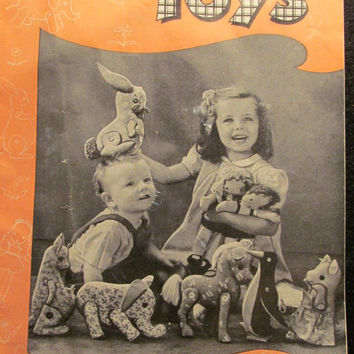 Sale Uncut 1940's Easy-To-Sew Clark's Toy Pattern, S-14! Stuffed Animals/Elephants/Horses/Rabbits/Pigs/Penguins/Kangaroo/Dolls/Kids/Children