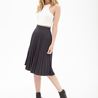 FOREVER 21 Accordion Pleated A-Line Skirt Charcoal Small