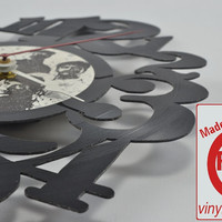 Unique Handmade Vinyl Record Wall Clock (artist is Men at Work)