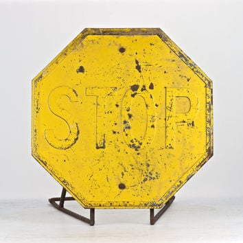 Yellow Stop Sign   Stop Sign   Metal Stop Sign   Vintage Stop Sign   Traffic Sign   Industrial Decor