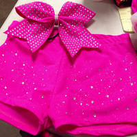 Super bling spandex shorts and Bow
