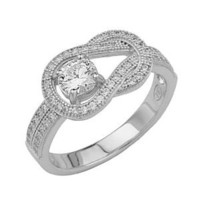 .925 Sterling Silver Rhodium Plated Micro Pave Knotted Ring