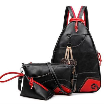 high quality Vintage Leaf Stitching Shoulder Bag Backpack three sets Multifunction Chest Women Leather Backpacks Designers