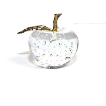 Apple Paperweight Glass Apple Art Glass Glass Fruit Murano Art Glass Controlled Bubble Crystal Apple Teachers Gift