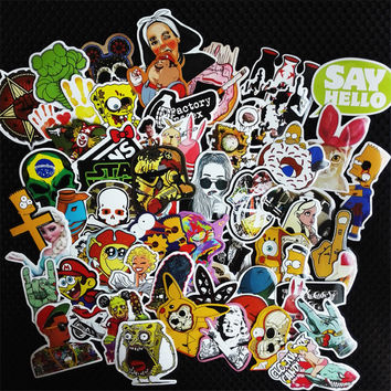2017 50Pcs Fashion cool DIY Mixed Stickers for Skateboard Laptop Luggage Snowboard Fridge Phone toy Styling home decor Stickers