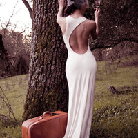 LAUREN - Asymmetrical Open Back Jersey Grecian Maxi Dress Sustainable White Wedding Dress Gown Formal