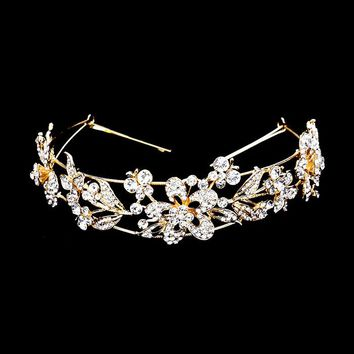 Floral Leaf & Butterfly Crystal Accent Headpiece