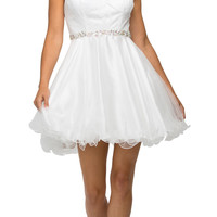 Lace Applique Jewel Neck and Waist A-line Sweet Sixteen Dress Off White
