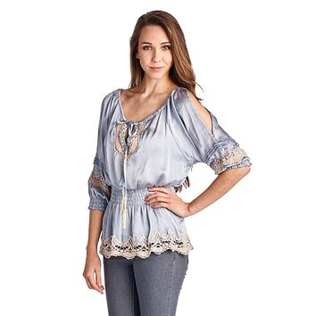 Women's Cold Shoulder Smocked Woven Top with Crochet Detail