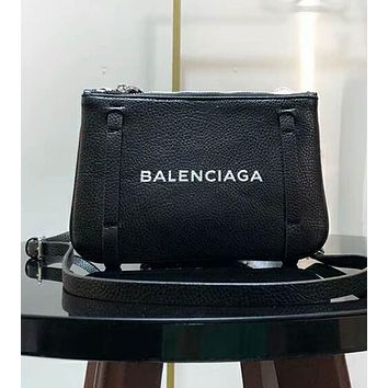 BALENCIAGA Trending Women Shopping Stylish Leather Satchel Tote Handbag Zipper Bag Black I-AGG-CZDL