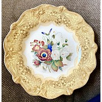 Antique Pratt Gold Transferware Plate Country French Botanical Floral Bouquet Peonies Cornflower Phlox  #2