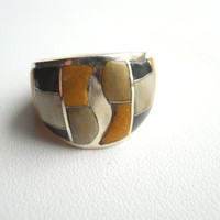 Vintage Sterling Silver MOP Onyx Inlay Dome Ring Size 7.75