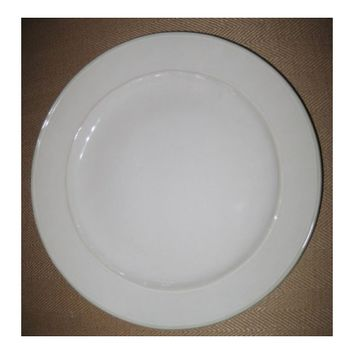 White Dinnerware: Dinner Plate with Green Trim