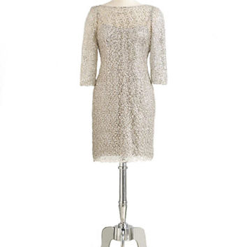 Kay Unger Crochet Dress with Sequin Accents