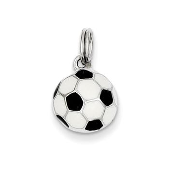 Sterling Silver, Enameled Black and White Soccer Ball Charm, 10mm