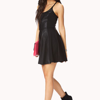 Daring Faux Leather Skater Dres