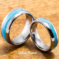 Wedding Band Set of Tungsten Rings with Turquoise Inlay (6mm & 8mm width, Barrel Style)