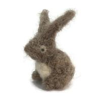 Needle Felted Bunny Rabbit - Small Needle Felt Animal - Grey and White Bunny Wool Needlefelt Woodland Creature Sculpture