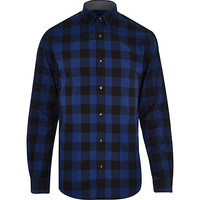 River Island MensBlue Jack & Jones Premium checked shirt