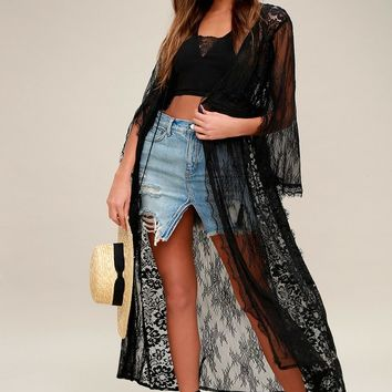 Chelsea Black Lace Robe
