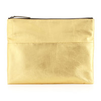 Carina Leather Foldover Clutch Bag, Gold