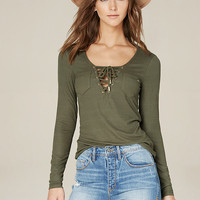 JENNY RIBBED LACE UP TOP
