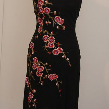 1980/90s Sue Wong Dress with Embroidered Flowers