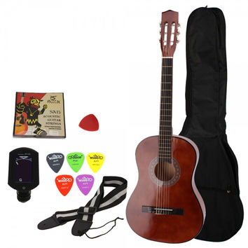 "38"" Classical Acoustic Guitar Brown with Extra Guitar Tuner, 38"" Bag, 5 x Alice Picks, Strap, Guitar Strings Set"