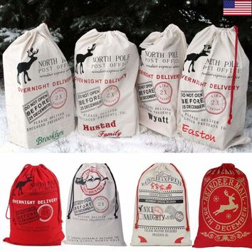 Large Gift Bag Christmas Canvas Santa Sack Express Delivery Present Stocking Bag