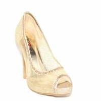 French Kiss Faith Laced Peep Toe Heel Gold 9