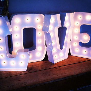 PURE LOVE with clear globe LIGHTS: alphabet light marquee sign