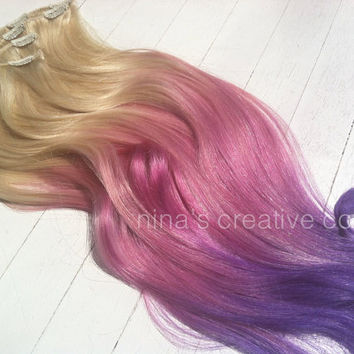 "Cotton Candy Ombre Hair, Unicorn Hair, Blonde Ombre Hair Extensions, Pastel Hair, Festival Hair, (7)Pieces,22"", Custom Your Color"