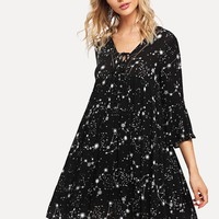 Lace Insert Galaxy Print Dress