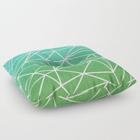 Abstract geometric | green & turquoise Floor Pillow by eDrawings38