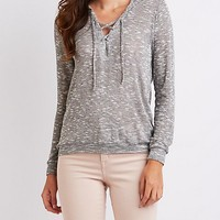 Hacci Lace-Up Hoodie