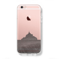 Mont Sanit Michel France iPhone 6s Clear Case iPhone 6 Cover iPhone 5S 5 5C Hard Transparent Case C014
