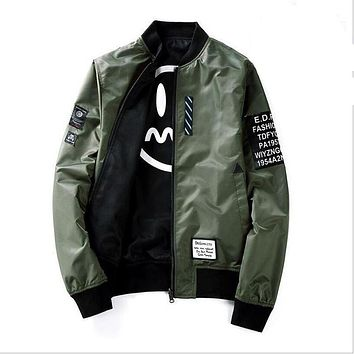 High Quality Winter Army Green Military red varsity Flight Jacket Pilot Air Force Men Bomber Jacket Patches Green Both Side Wear
