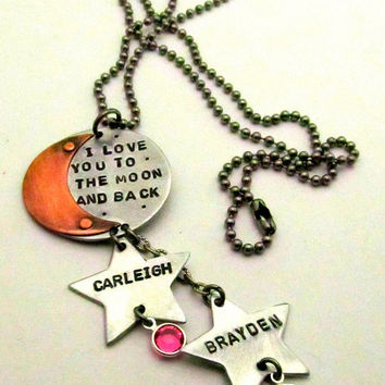 I Love You to the Moon and Back - Hand Stamped Jewelry - Personalized Necklace Riveted - Birthstone Necklace Mixed Metal Mom Necklace (101)