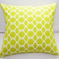 Green Trellis Pillow Slipcover 18x18 Cotton Fabric Envelope