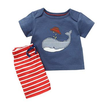 Baby Boys Summer Sets Children Clothing Short Sleeve Tracksuit for Boys Sport Suits Animal Appliques Costume for Kids Clothes