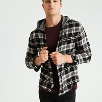 AEO Hooded Flannel Shirt, Black
