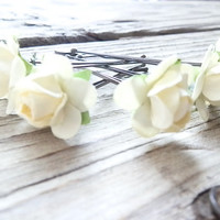 Ivory Rose Flower Bobby Pins - Set of 5 - Lovely rose bobby Pins- Bridal Hair Pins - Boho Wedding Hair Accesories - Ivory Wedding head piece