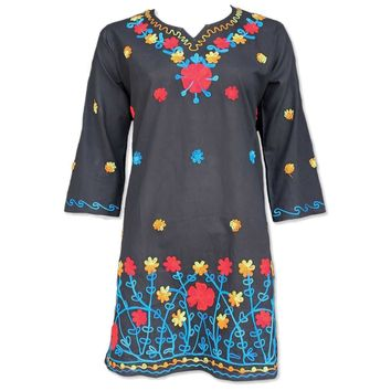 Boho Chic Embroidered Cotton Tunic
