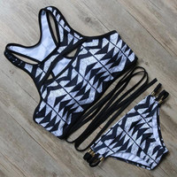 Aztec Geometry Striped Bikinis Beach Bathing Suit High Neck Bikini Set