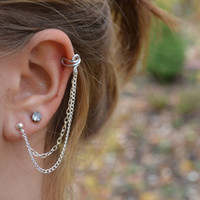 Silver Ear Cuff With Chain