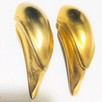 Massive Matte Gold Plated Layered Earrings, Clip On Style,  Designer 1980s Statement Jewelry, Avant Garde 918