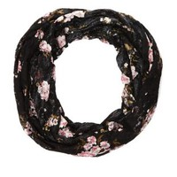 Floral Lace Infinity Scarf by Charlotte Russe - Black Combo